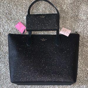 NWT Kate Spade Joeley Black Glitter Tote & Wallet